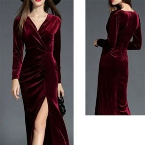 Migeer faux wrap Velvet Dress Holiday M